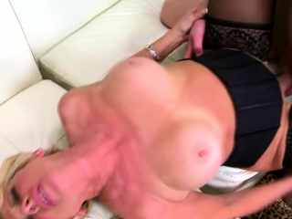Huge-chested light-haired grandmother enticed by a man