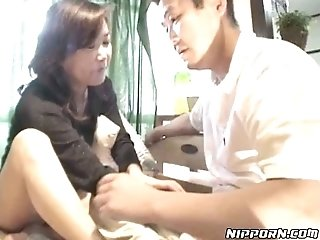Kinky mature Japanese chick gives her head to one young guy