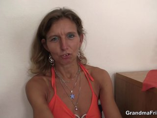 Cute granny double fucked