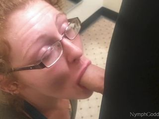 Sandy-haired cougar Ivy fellates husband off in a Public switching bedroom CIM