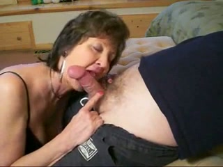 Dark haired bitchie granny sucked my perverted friend's lollicock