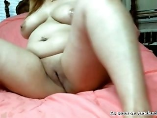 Chubby amateur chick is eager for real cock while masturbating clit