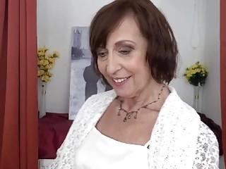 Lusty grandma peels off her glamour underwear before heavy solo onanism