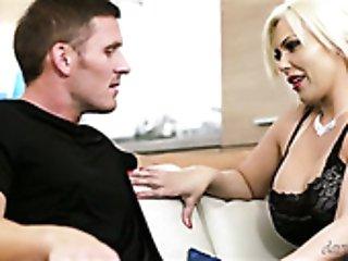 Perverted guy seducing busty blonde milf in stockings