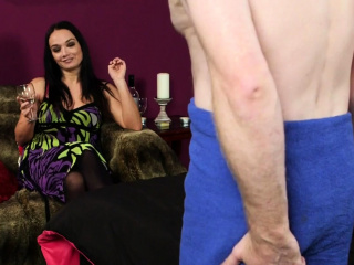 Brit female dominance teaches fellow to jerkoff