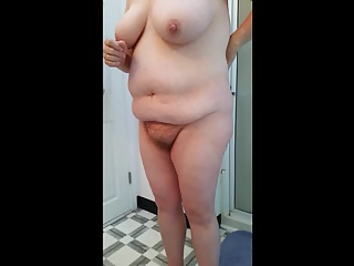 bbw hairy wife, big tits, ripe nipples getting in the shower
