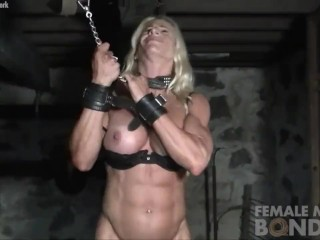 Platinum-blonde doll Muscle princess in held