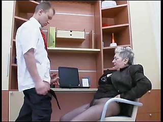 Granny love fuck at work.