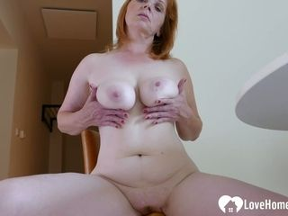 Aged ginger-haired dame is here to jerk energetically