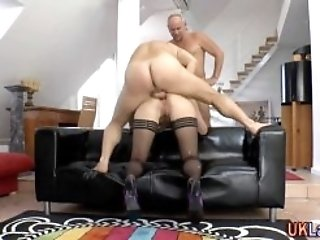 Brit stockings mature analized and spunked in bigdick threeway