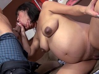 Preggo female with dark areolas gets spunk on her abdomen
