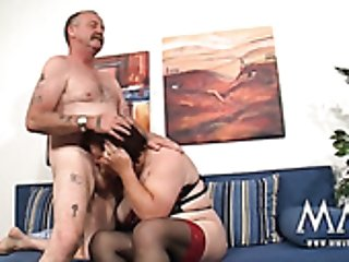 Kinky dude fucks two sex-crazy grannies in stockings and sexy outfits