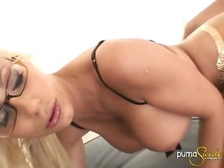 Four eyed secretary Puma Swede gives great blowjob to young boss