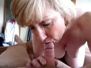Blonde mom works on my shaft and lets me cum in her mouth