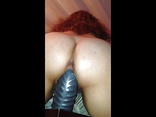 Thick wife rides thick dildo