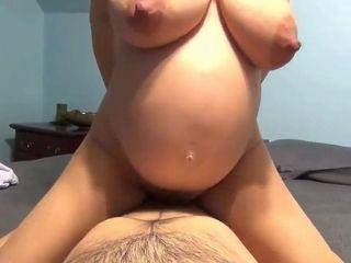 Full-Bosomed preggo wifey internal ejaculation