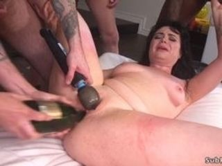 Super-steamy black-haicrimson bride Siouxsie Q in crimson wedding sundress gets hatch plumbed by gang of folks then banged with bottle and dual invasi