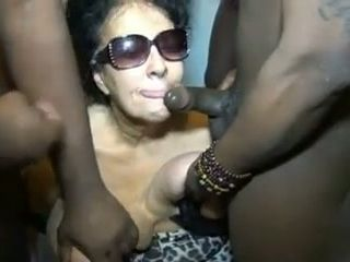 This unexperienced grandma superslut takes popshots from a pile of boys