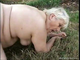 Brutal guy in mask fucks super fat ugly granny in woods hard