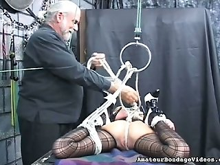 Tied up slut Emi is toy fucked intensively in kinky BDSM porn clip