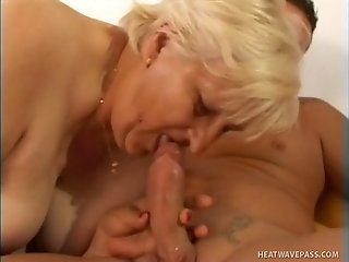 Disgusting fat blond haired mature bitch gets a chance to suck dick