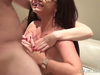 Busty raven haired bombshells perform solid BJ to one horny guy