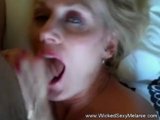 Capable Granny Blowjob coupled with Cumshot