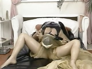 Lusty housewife seducing busty maid and making her lick pussy
