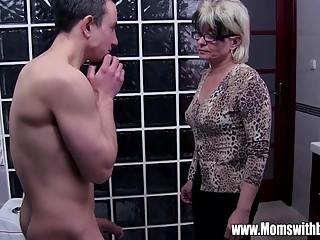 Grey Haired Stepmom Fucks Her Bathroom Jerking Ste