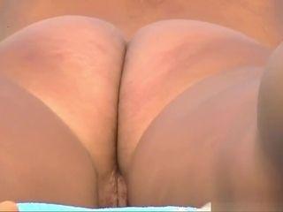 Handsome rump clean-shaven gash naturist cougars Tanning naked Beach spycam