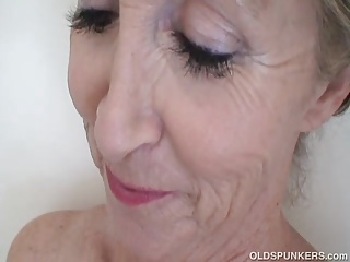 Super sexy old spunker feeling horny in the shower