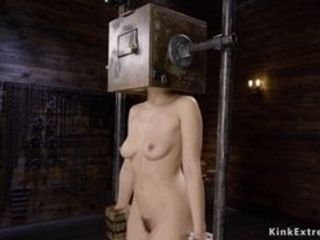 Nude brown-haired chinese sub Kendra Spade in wooden boxes implement gets firm lashed by tormentor then played and finger-banged till bust all over ba