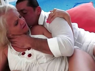 Hot granny enjoying nasty sex with younger man