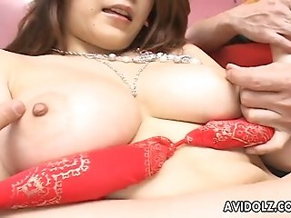 Chubby Asian mom in red lingerie gets her shaved kitty tickled by two hungry boys