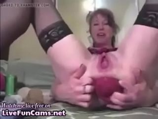 Matured prolapse their way asshole in the sky cam